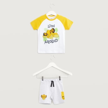 Simba Graphic Print T-shirt with Shorts