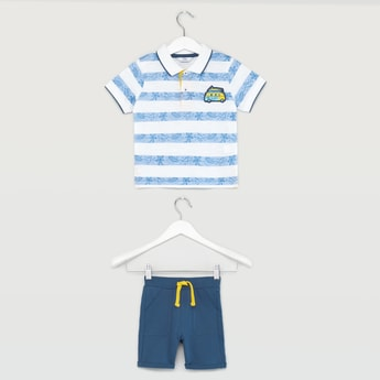 Striped Surf Print Polo T-shirt and Contrast Shorts Set