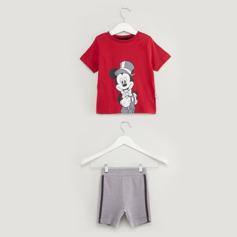 Mickey Mouse Print Short Sleeves T-shirt with Tape Detail Shorts