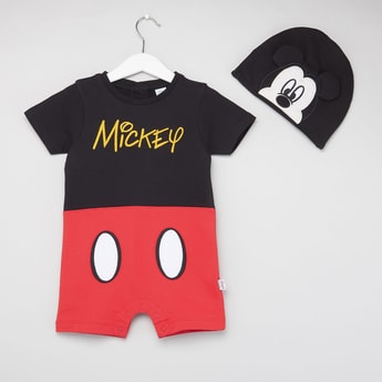 Mickey Mouse Print Short Sleeves Romper with Cap