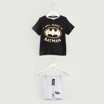 Batman Print Short Sleeves T-shirt with Pocket Detail Shorts