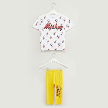 All Over Mickey Mouse Print Short Sleeves T-shirt with Full Length Pants