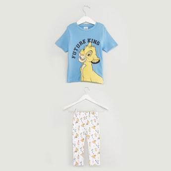 Lion King Print Short Sleeves T-shirt and Full Length Pyjama Set