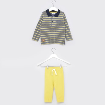 Striped Polo T-shirt with Knitted Joggers