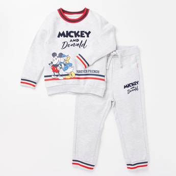 Mickey Mouse and Donald Print Sweatshirt and Full Length Jog Pants Set