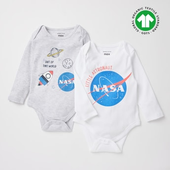 Set of 2 - NASA Print GOTS Organic Cotton Bodysuit with Long Sleeves