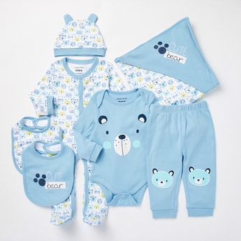 Bear Print GOTS Organic Cotton 7-Piece Gift Set