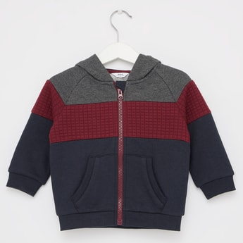 Colourblock Jacket with Long Sleeves and Hood