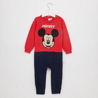 Mickey Mouse Print Romper with Round Neck and Long Sleeves