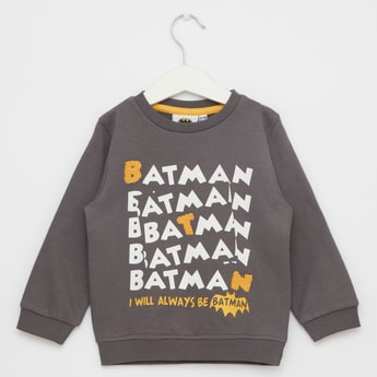Batman Print Round Neck Sweatshirt with Long Sleeves