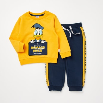 Donald Duck Print Round Neck Sweatshirt and Full Length Joggers Set