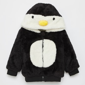 Textured Penguin Zip Front Jacket with Long Sleeves and Hood