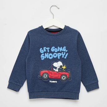 Snoopy Graphic Print Sweatshirt with Round Neck and Long Sleeves