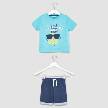 Text Print Short Sleeves T-shirt with Pocket Detail Shorts