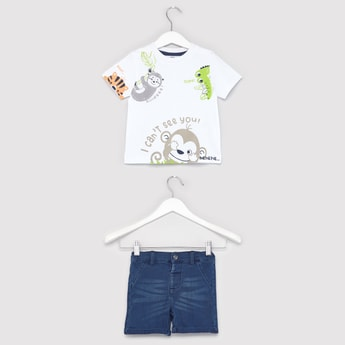 Graphic Print Round Neck T-shirt and Woven Shorts Set