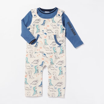 Text Print Long Sleeves T-shirt with All-Over Dino Print Dungarees