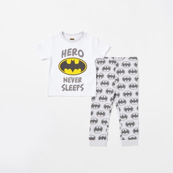 Batman Graphic Print T-shirt and All-Over Print Pyjama Set