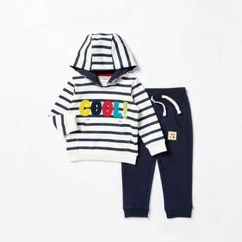 Striped T-shirt with Hood and Jog Pants with Drawstring Set