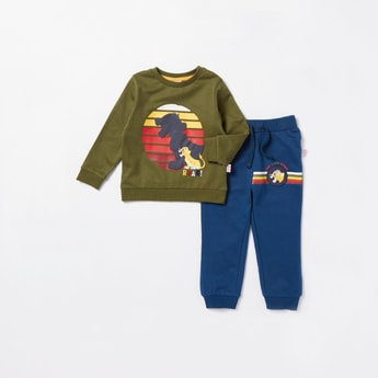 Simba Graphic Print Long Sleeves Sweatshirt with Jog Pants Set