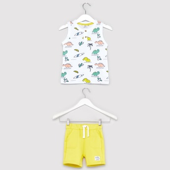 Dino Print Sleeveless T-shirt and Contrast Knit Shorts Set
