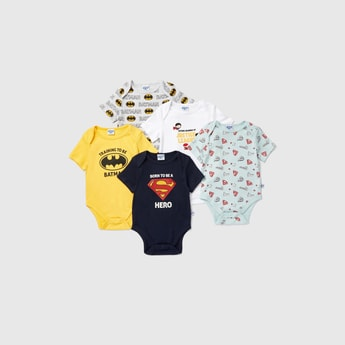 Set of 5 - Justice League Print Bodysuit with Short Sleeves