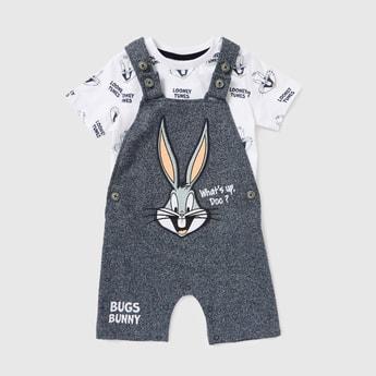 All-Over Bugs Bunny Print T-shirt and Dungaree Set
