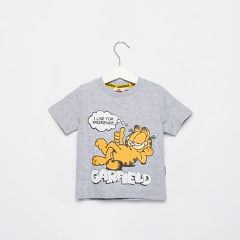 Garfield Print T-shirt with Round Neck and Short Sleeves
