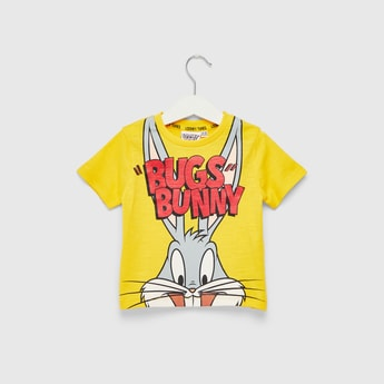 Bugs Bunny Graphic Print T-shirt with Round Neck and Short Sleeves