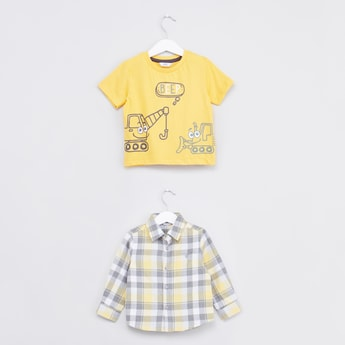Chequered Long Sleeves Shirt and Printed Short Sleeves T-shirt Set