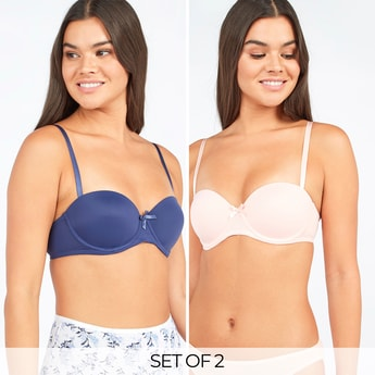 Set of 2 - Solid Balconette Bra with Bow Applique