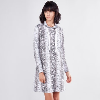 Printed Mini Dress with Long Sleeves and Hood