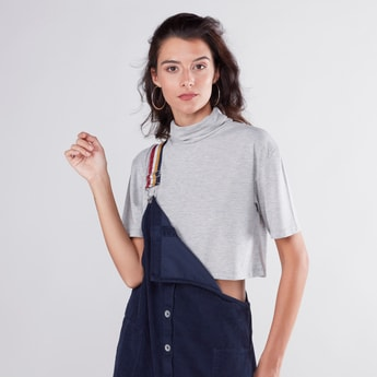 Textured Crop Boxy Top with Cowl Neck and Short Sleeves
