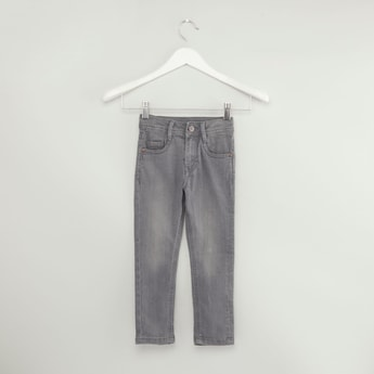 Acid Washed Denim Pants with Pockets and Button Closure