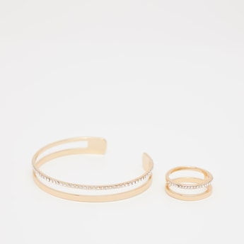Studded Open Cuff Bracelet and Finger Ring Set