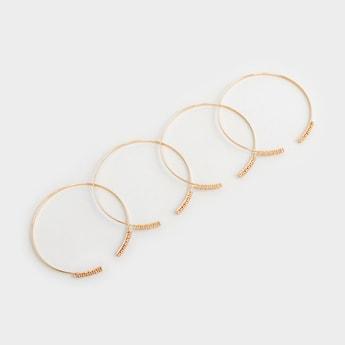 Set of 4 - Studded Open Cuff Bangles
