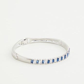 Studded Bangle with Clasp Buckle Closure