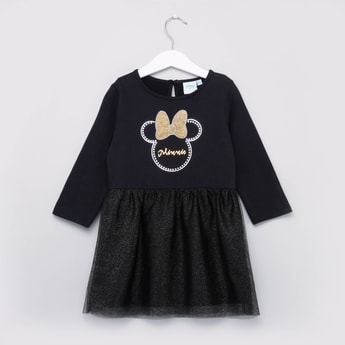Minnie Mouse Textured Dress with Round Neck and Long Sleeves