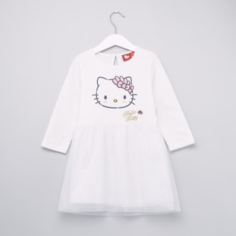 Hello Kitty Printed Dress with Round Neck and Long Sleeves