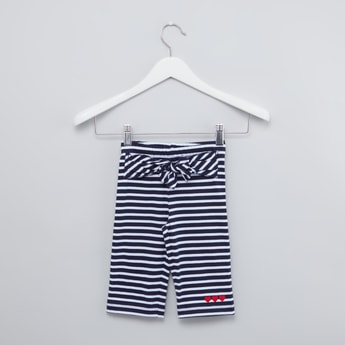 Striped Culottes with Bow Applique and Elasticised Waistband