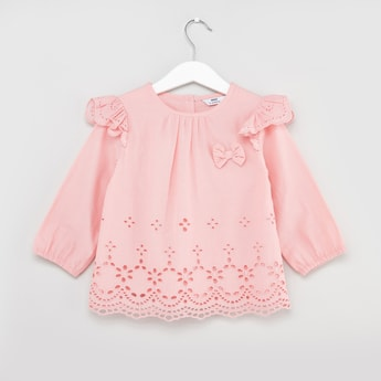 Schiffli Printed Top with Ruffle Detail and Bow Applique