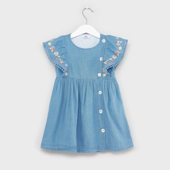 Floral Embroidered Denim Dress with Button Detail
