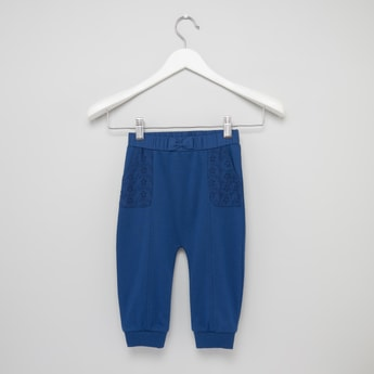 Plain Jog Pants with Schiffli Detail Pockets and Elasticised Waistband