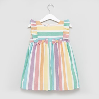 Striped Sleeveless Dress with Round Neck and Ruffle Detail