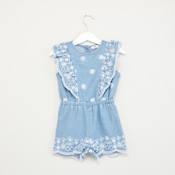 Schiffli Embroidered Sleeveless Denim Playsuit with Ruffle Detail