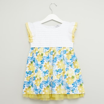 Floral Print Dress with Cap Sleeves and Button Closure