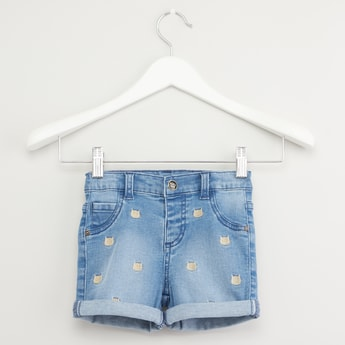 Cat Embroidery Denim Shorts with Pocket Detail