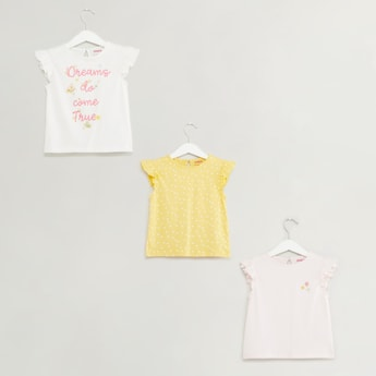 Set of 3 - Printed T-shirt with Round Neck and Ruffle Cap Sleeves