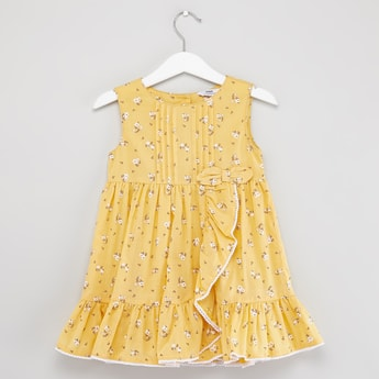 Ditsy Print Sleeveless Wrap Dress