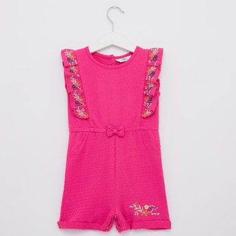 Textured Playsuit with Embroidery Detail