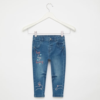 Full Length Embroidered Detail Jeans with Pocket Detail and Belt Loops